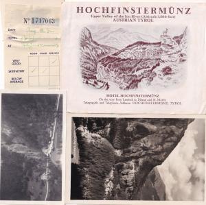 Hochfinstermunz Austria Tirol Hotel Map 4x 1950s Receipt Photo Set