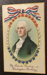 Vintage embossed Washington's birthday postcard greeting, 1908