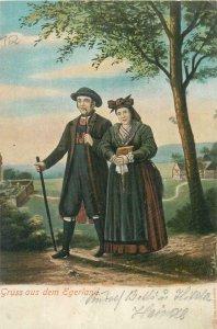 Ethnic type Postcard Czech folk costumes Gruss aus Egerland