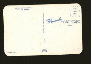 City Hall Hamilton Bermuda 1960's Color Postcard Unposted