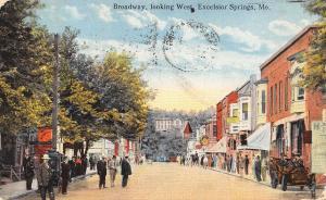 Excelsior Springs MO~Shops w/Bay Windows~Big Home on Hill~Vegetable Market c1914