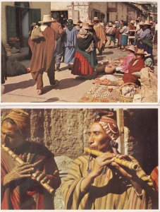Indian Fluteplayers & Market Square Peru 2x Postcard
