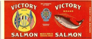 VICTORY Brand SALMON - 1920s era / LABEL FOR CAN - Vancouver CANADA