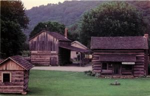 Bob Evans Farm Rio Grande Ohio OH Log Cabin and Barn Postcard