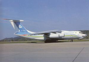 UZBEKISTAN AIRWAYS, IL-76TD, unused Postcard
