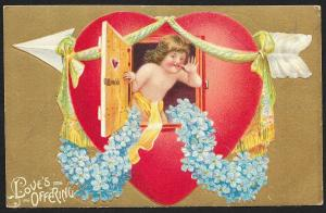 Loves Offering Cupid in Window of Heart & Violets Used c1910s