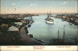 Curacao Stad & Haven Harbor Used 1916 Postcard