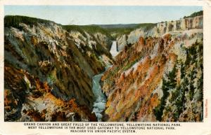 WY - Yellowstone National Park. Grand Canyon, Great Falls  (Union Pacific RR)