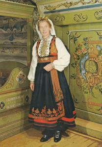 Norway National Costume For East Telemark Norge Fashion Postcard