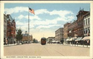 Ravenna OH Main St. West c1920 Postcard