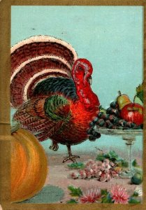 c 1910 Whittier Thanksgiving Postcard Tom Turkey Standing On Dinner Table Fruit