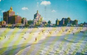 New Jersey Atlantic City Beach and Central Skyline 1955