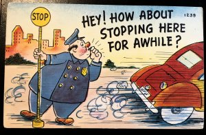 Colourpicture - Rotund officer and Stop sign, missing you, Vic's Stamp Stash