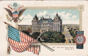 New York State Capitol, USA Flag, ALBANY, New York, PU-1914