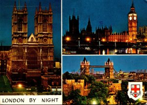 England London Westminster Abbey Houses Of Parliament & Tower Bridge By Night...