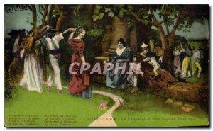 Old Postcard En Provence La Farandole by Valere Bernard