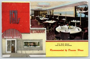 Lake Geneva WI~Hill Restaurant & Cocktail Lounge~Duncan Hines~Art Deco~1953