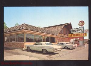 CLAXTON GEORGIA MRS. ROGERS RESTAURANT 1960's CARS ADVERTISING POSTCARD GA.