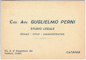44185  CARTOLINA d'Epoca - CATANIA Città - PUBBLICITARIA: Studio legale 1939