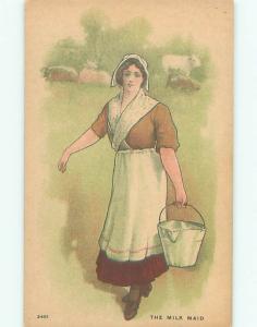 Pre-Linen Slight Risque Interest MILKMAID GIRL CARRYING BUCKET ON FARM AB7712