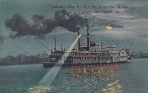DAVENPORT , Iowa, 1911 ; Steamer Morning Star by Moonlight