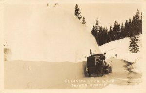 Donner Summit California~Big Snow Plow Tractor Cleaning Up US 40~1940s RPPC