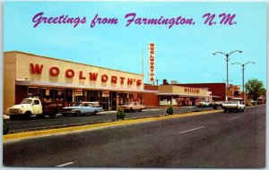 Farmington, New Mexico Postcard BROADWAY Street Scene / Woolworth's Store c1960s