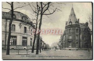 Old Postcard Montlucon Bank Caisse d & # 39Epargne and Avenue Jules Ferry