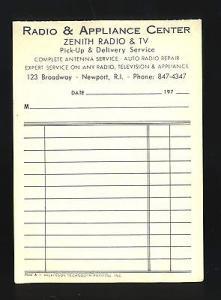 Radio & Appliance Center Service Order/Invoice, Newport, ...