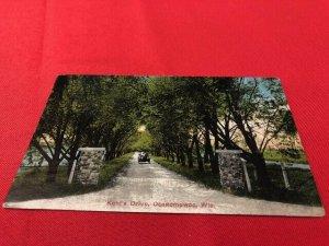 1914 postcard OCONOMOWOC WI Kohl's Drive, pub KROPP, to Mrs Sarah Morrison