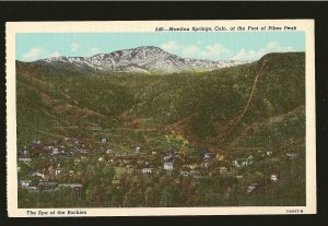 USA Manitou Spring Colorado Foot of Pikes Peak Spa of The Rockies Linen Postcard