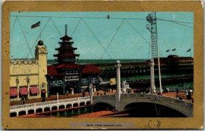 Vintage CONEY ISLAND New York City Postcard Iron Fire, DREAMLAND 1910 Cancel
