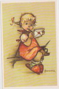 BONNIE: Little Folks Sketch Series: Girl in Red Dress & Oversized Slippers Wr...