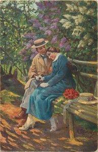 Postcard Artist signed rumpelt unter dem fliederbaum love couple idyl woman hat