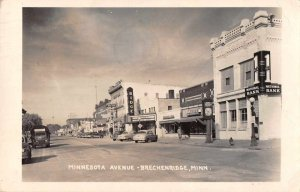 Breckenridge Minnesota Street Scene Bank Shoe Store Real Photo Postcard JI658344