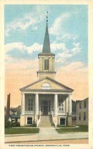 1920s First Presbyterian Church Greenville Tennessee Novelty Teich postcard 2645