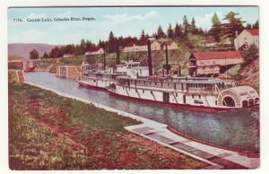 P212 JL old postcard cascade locks columbia river oregon