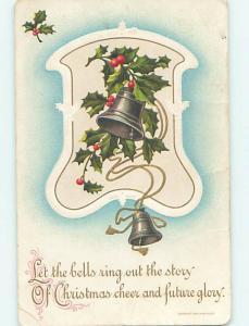 Divided-Back christmas SILVER BELLS & GOLD RIBBON & HOLLY o4109