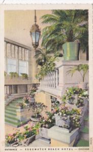 Illinois Chicago Egewater Beach Hotel The Entrance 1933 Curteich