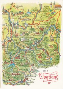 Vogtland Schneeberg Rothenkirchen Ellefeld Saxony German Karte Map Postcard