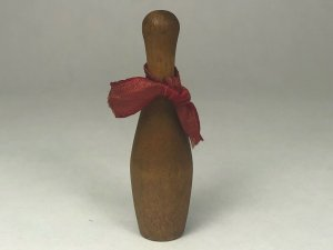 Vintage Miniature Wooden Bowling PIn 2 Dark Wood with Decorative Ribbon