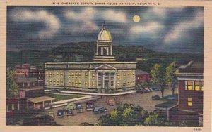 North Carolina Murphy Cherokee County Court House At Night Albertype