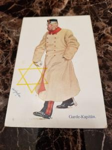 1938 Germany Mint Postcard Eternal Jew Museum Exhibit Captain of the Guard Army