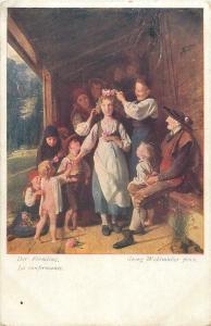 Pre 1920 art postcard Georg Waldmuller - Der Firmling / Confirming