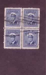 Canada, Used Block of Four, George VI, 5 Cent, Scott #255