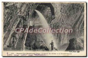 Postcard Old Baume Les Messieurs L'Entree Des Grottes And Great Waterfall