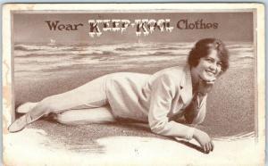 1910s Advertising Postcard Wear KEEP-KOOL Clothes Pretty Girl on Beach UNUSED