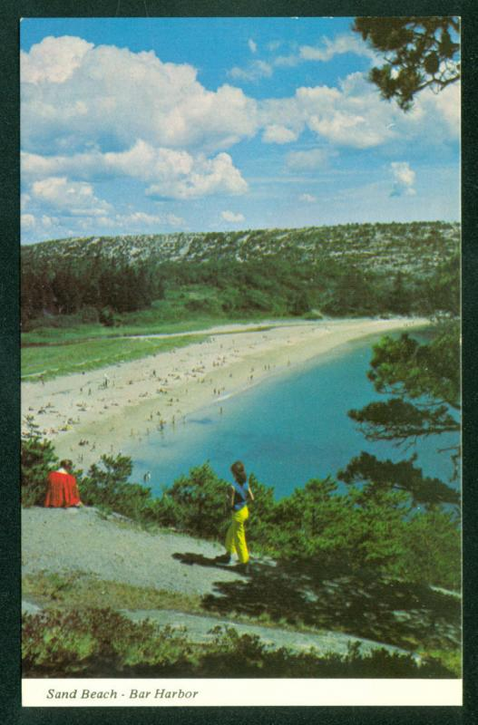 MAINE OCEAN DRIVE Sand Beach Bar Harbor Acadia National Park Postcard