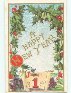 Pre-Linen new year CALENDAR DATE WITH HOLLY AND GOLDEN LETTERS k5396