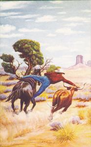Without A Rope by Cowboy Artist L H Dude Larsen
